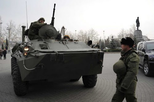 Russian armored personnel carrier deployed amid rising tensions in Crimea on the Black Sea. Ukraine has experienced a pro-European and United States fascist coup. by Pan-African News Wire File Photos