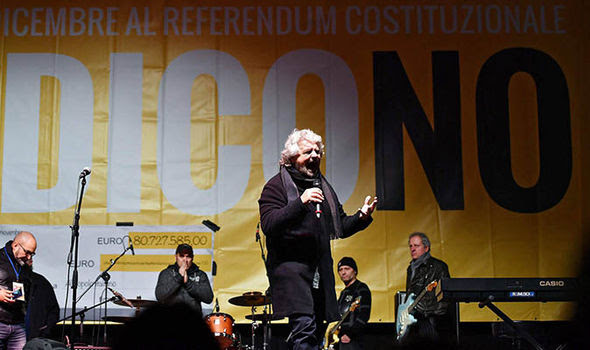 The Five Star Movement's Beppe Grillo addresses a raly
