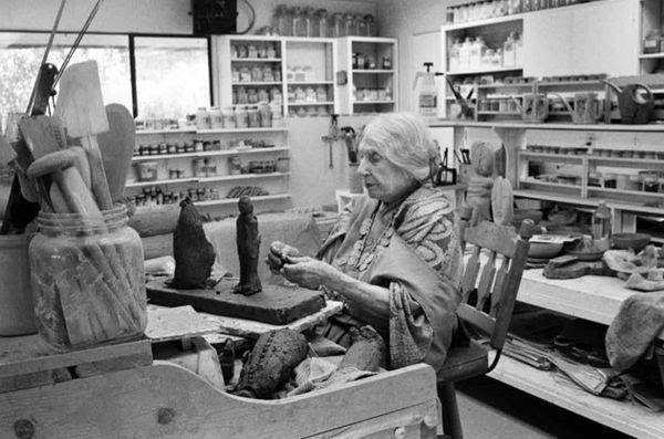 Beatrice Wood in her Ojai studio