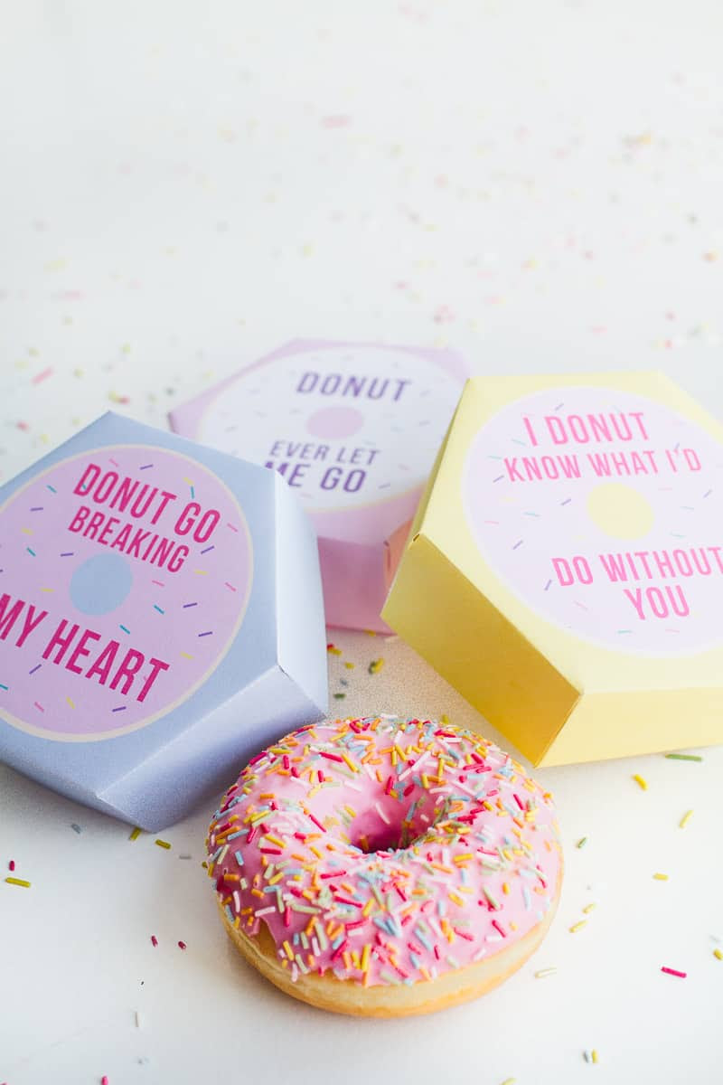 DIY donut boxes valentines day puns doughnuts case cute fun tutorial free printable-15