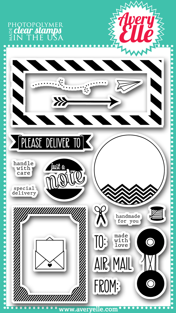 """Our 4"""" x 6"""" Air Mail clear photopolymer stamp set is perfect for creating a fun greeting.  The sentiments included in this set are great for envelopes, the back of cards and for a fun hello.  The labels included in this set are sure to be used time and again."""