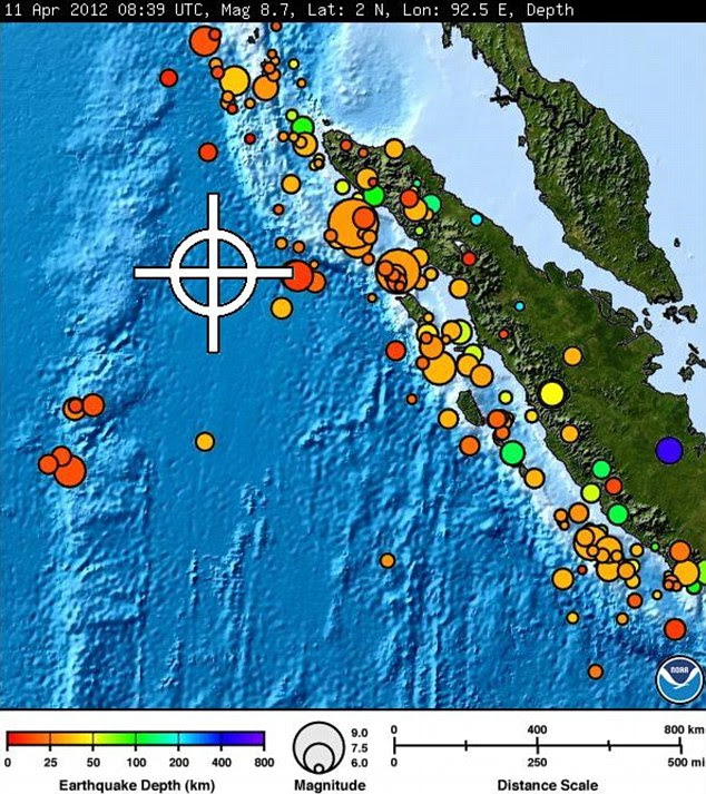 Strike point: The spot where the earthquake hit and bubbles that show where the tsunami is most likely to hit
