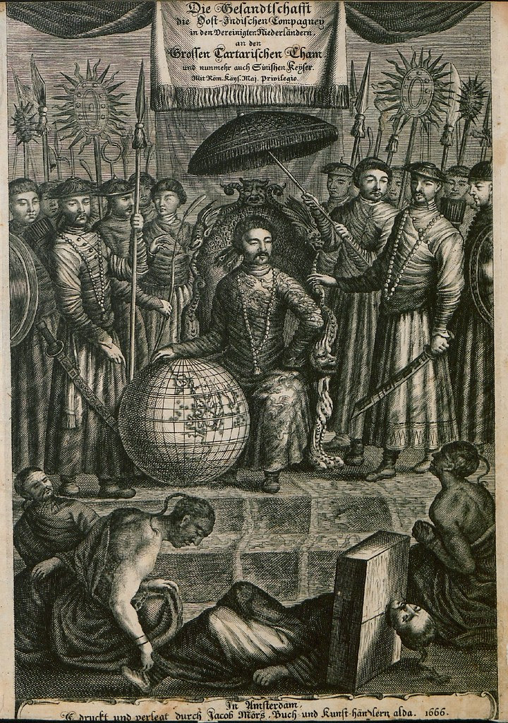 seated Chinese emperor with globe surrounded by raft of attendants; prisoner in head stock on ground