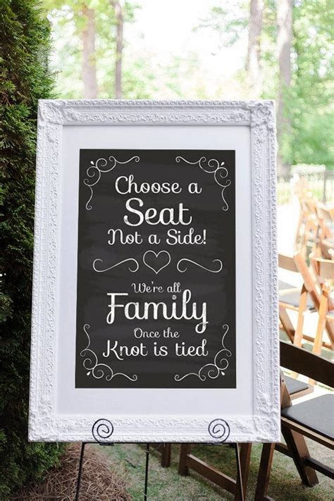 Pick A Seat Not A Side, Wedding Seating Sign, Wedding