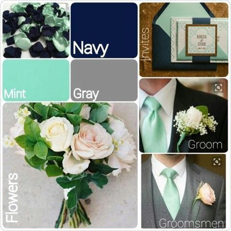Mint green, navy blue and gray wedding theme. Inspiration
