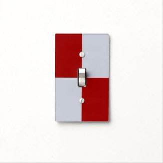 Red and Grey Rectangles Light Switch Covers
