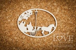 Tekturka - Dorożka w małym owalu - Wedding Day