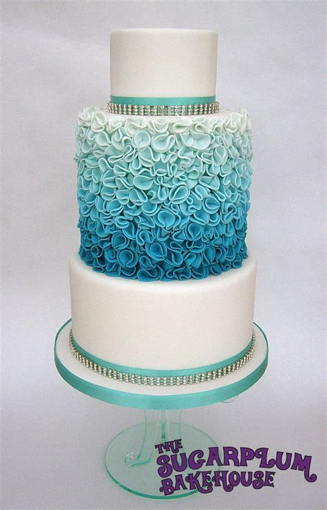 Turquoise Ombre Ruffle Wedding Style Cake   CakeCentral.com