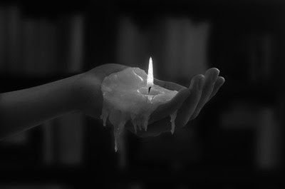 black and white, candle, fire, flame in hand, hot wax