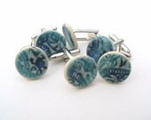 Cufflinks, blue turquoise ceramic, stamped with Indian wood block, man, men, unique - damsontreepottery