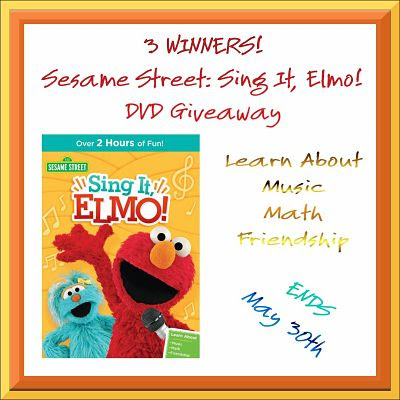 ELMO WANTS TO SING WITH YOU! Enter to be 1 of 3 lucky winners in the Sesame Street: Sing It, Elmo! DVD Giveaway by 5/30