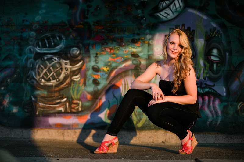 A senior portrait session taken in Summer in Late August. We began at the River View Ice House and used an alley, a graffiti wall, the rock river and fountain, and downtown rockford il backgrounds.