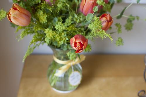 tulips, greens