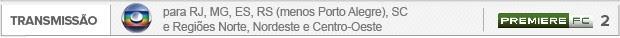 Transmissões Internacional x Flamengo - Globo para RJ, MG, ES, RS (menos Porto Alegre), SC e Regiões Norte, Nordeste e Centro-Oeste (Foto: Editoria de Arte)