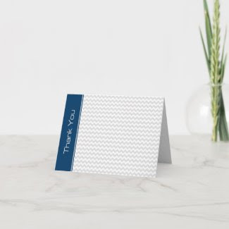 Navy Light Gray Zigzag Pattern Thank You Note Card