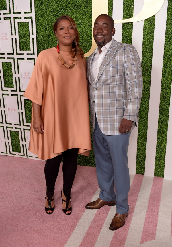 LOS ANGELES, CA - JUNE 24:  Actress/singer Queen Latifah (L) and CEO of Flavor Unit Entertainment Shakim Compere attend the 2015 BET Awards Debra Lee Pre-Dinner at Sunset Tower Hotel on June 24, 2015 in Los Angeles, California.  (Photo by Jason Kempin/BET/Getty Images for BET)