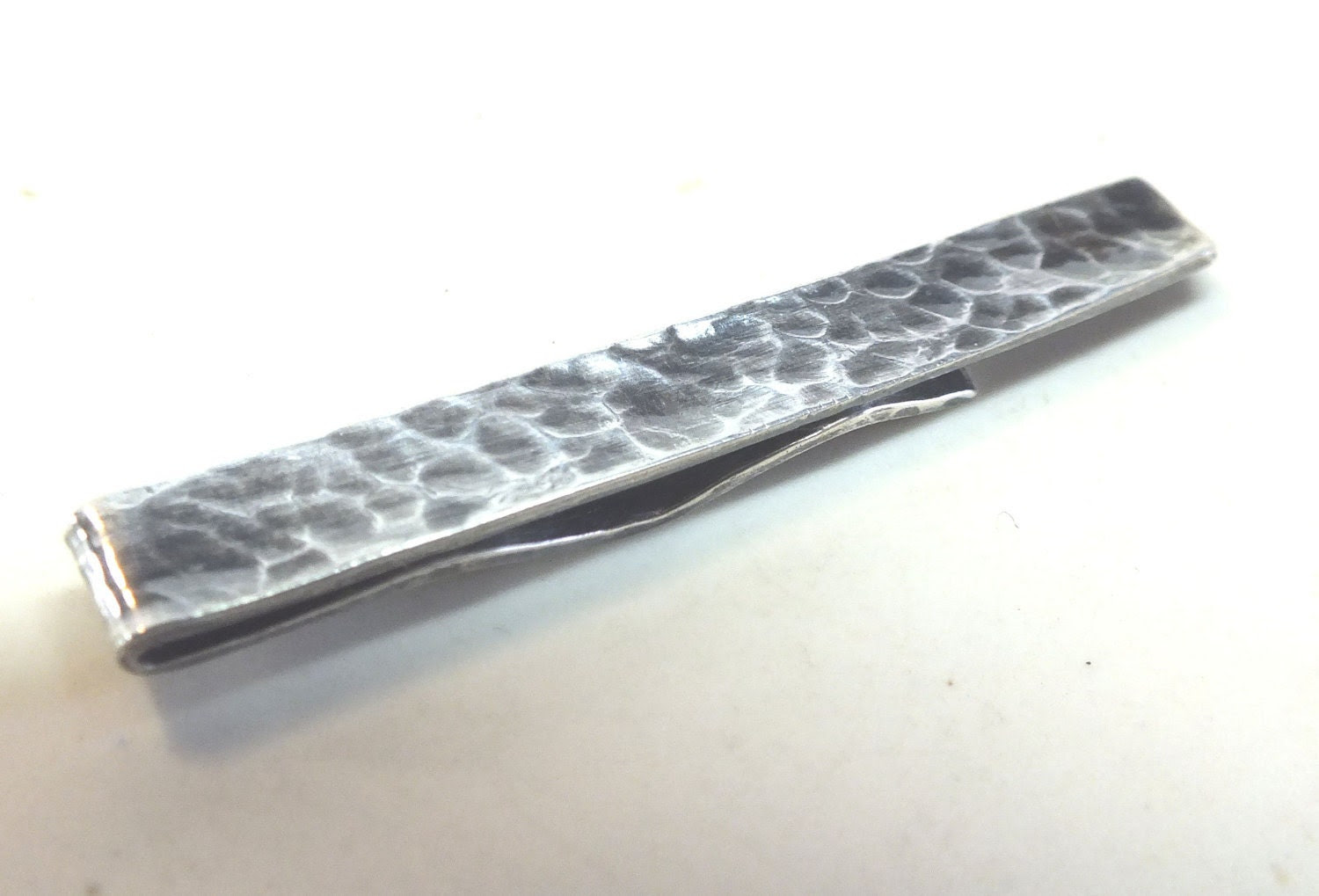 Mens Sterling Silver Tie Clip---Dimpled  Texture in Antique Finish