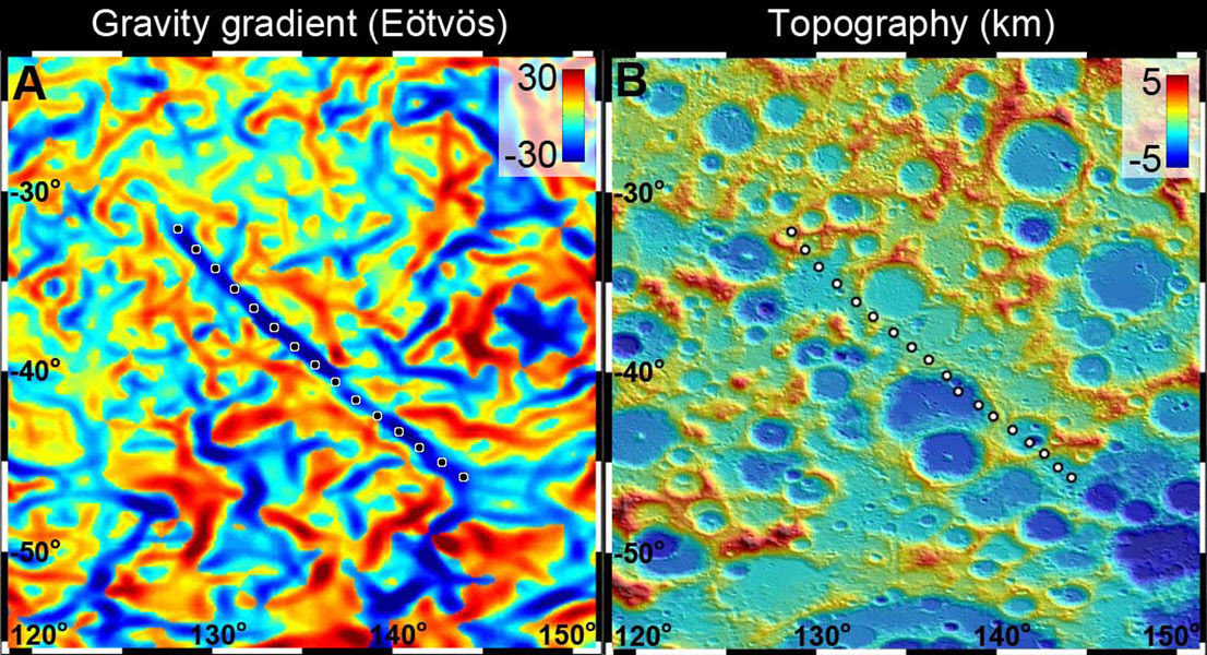 Gravity vs Topography data for a lunar dike