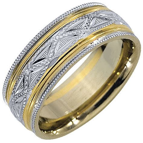 MENS WEDDING BAND ENGAGEMENT RING 14KT YELLOW WHITE TWO