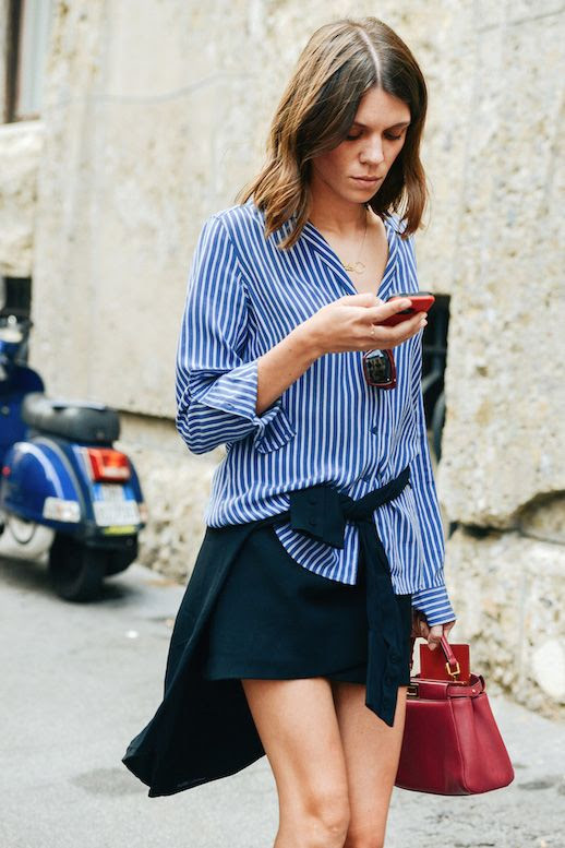 Le Fashion Blog 25 Ways To Wear A Striped Button Down Shirt Half Tuck Julia Gall Via Style Tied At Waist Street Style