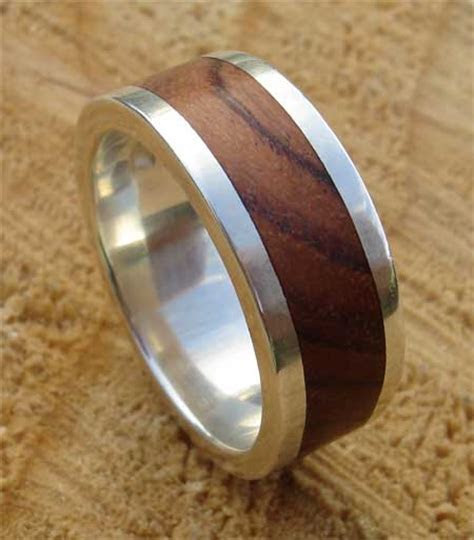Mens Wooden Inlay Silver Wedding Ring