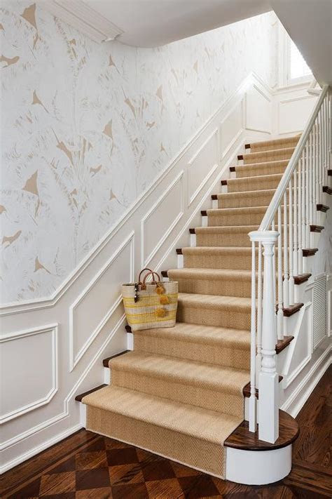 staircase  wainscoting  gray ikat wallpaper