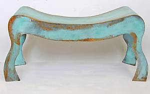 Blue Patina Bench - Steel Bench - by David Coddaire