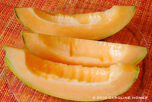 Homegrown organic cantaloupe