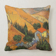 Valley with Ploughman From Above; Vincent van Gogh throwpillow