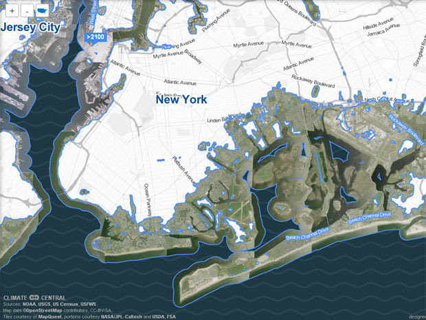 Mapa mostra o pior cenário possível em Nova York, com elevação de 3 metros do nível do mar. (Foto: Reprodução / Surging Seas)