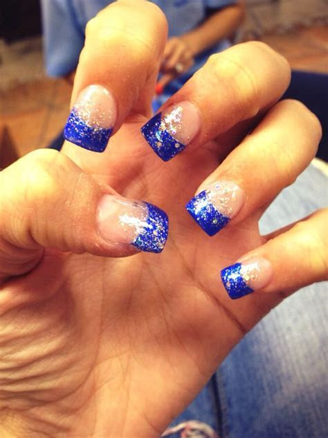 Royal blue tips with sparkles!   Make Up, Hair, & Nails