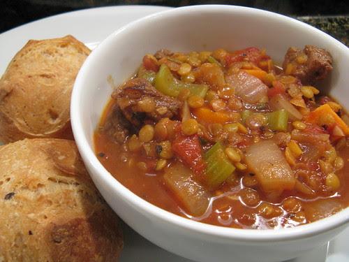 Beef, beer & lentil stew