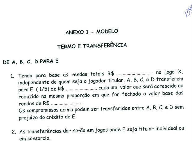 """Documento mostra modelo de """"termo e transferência"""" (Foto: Reprodução)"""