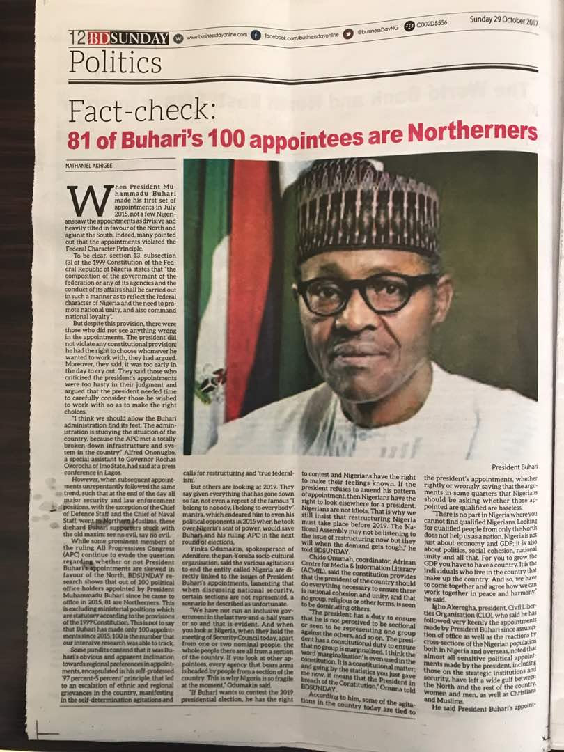 81 Of President Buhari's 100 Appointees Are Northerners (Photo)