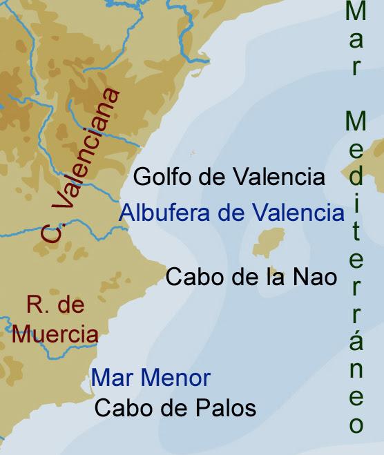 Mar Menor Mapa Fisico.Golfo De Valencia Mapa Mapa