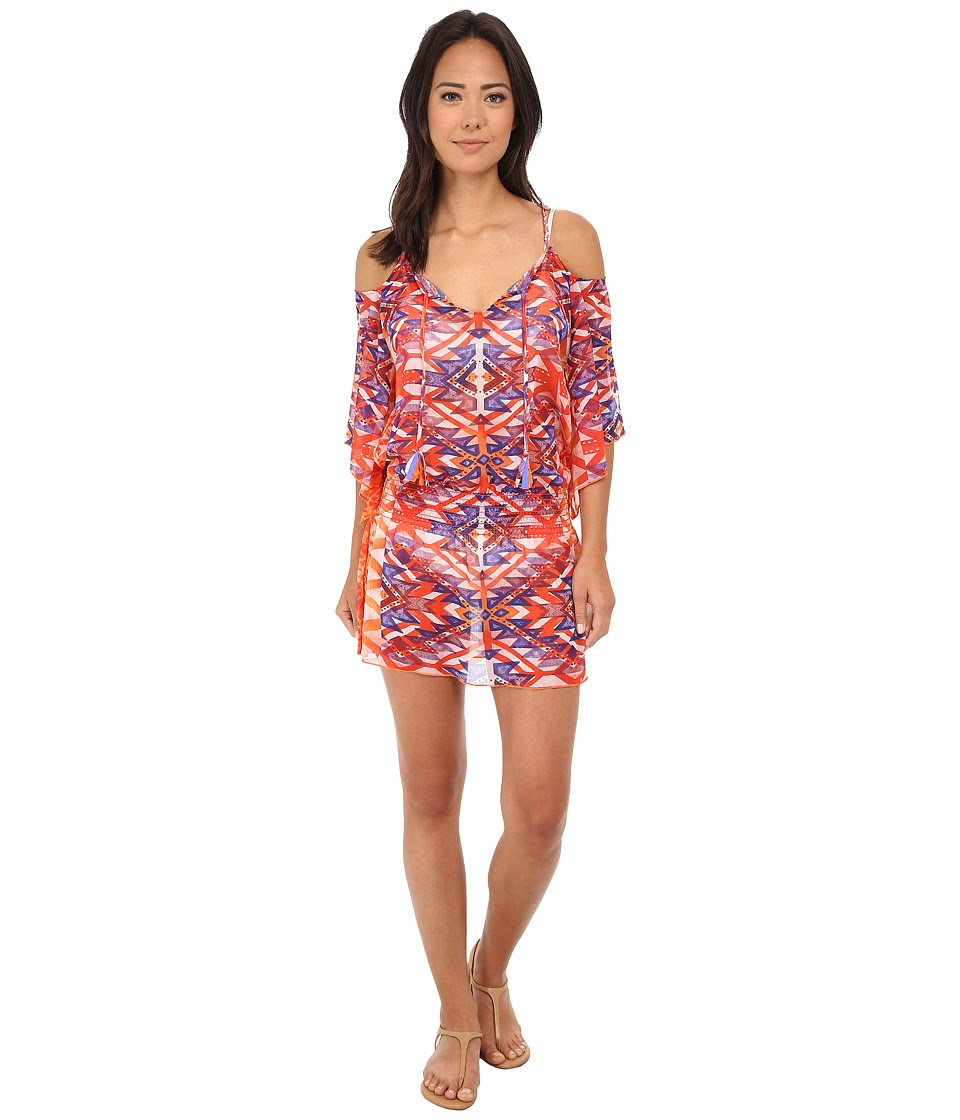 BECCA by Rebecca Virtue - Tulum Smocked Tunic Cover-Up (Multi) Women's Swimwear