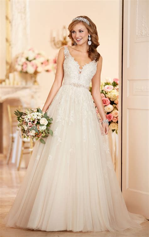 A line Wedding Dress with Plunging Neckline   Stella York