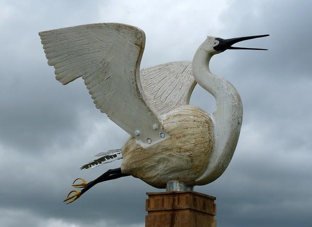 P1080990 - Little Egret Sculpture, Loughor Foreshore