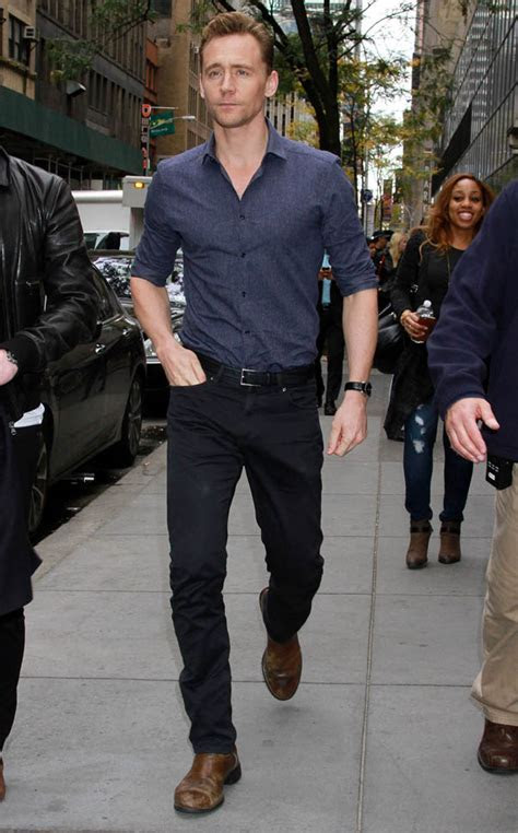 Tom Hiddleston looks great in street clothes as he