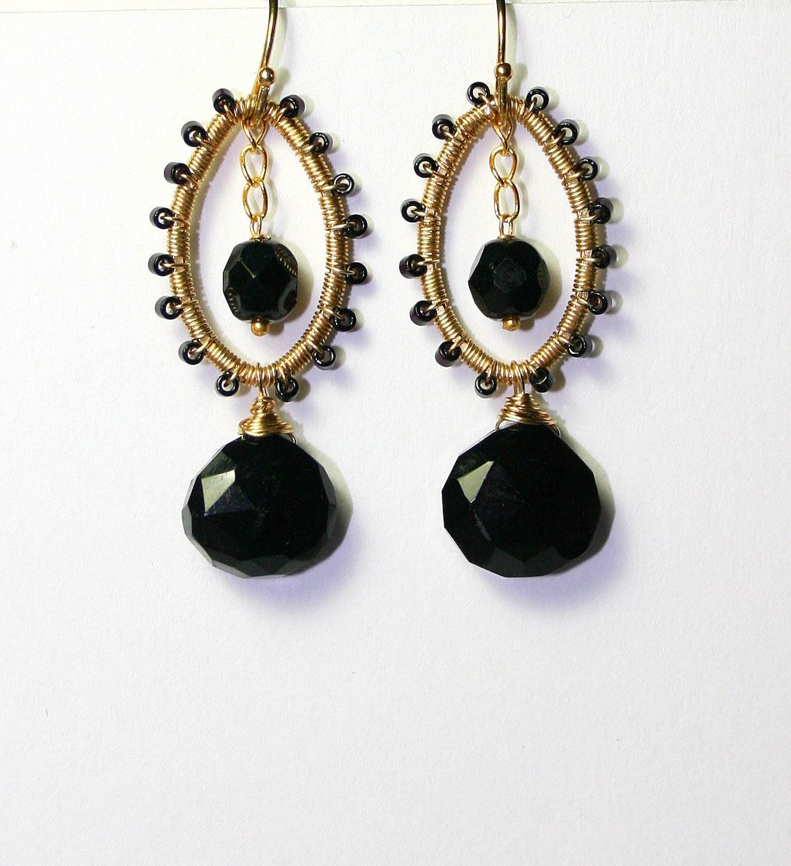 Black Onyx Earrings, Gold Wire Wrapped, Gemstone Teardrops
