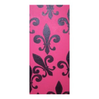 Pink fleur de lis painting customized rack card