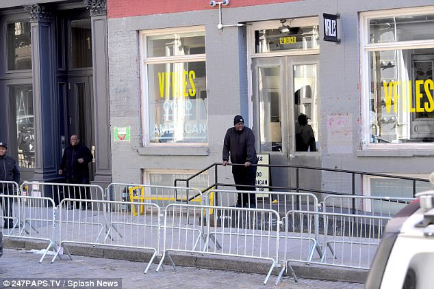 Empty: Khloe's fans failed to turn up in the expected numbers at her Good American pop up store on Friday in New York, though a representative from the company said the barriers had 'nothing to do' with the reality star's event, and were actually placed by NYPD