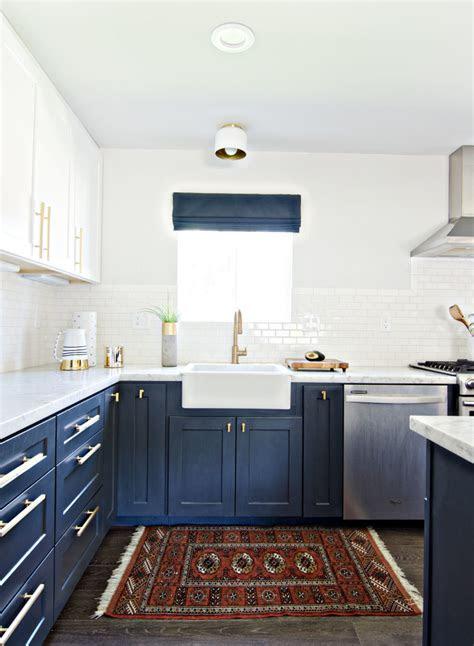 moment navy  white kitchen cabinets lauren