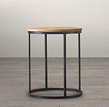 """19"""" Watts Reclaimed Oak Round Side Table"""