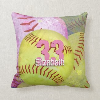 Girls' Softball Throw Pillow