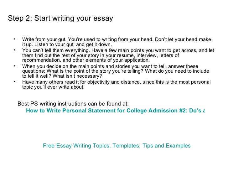 how to write a personal essay for university