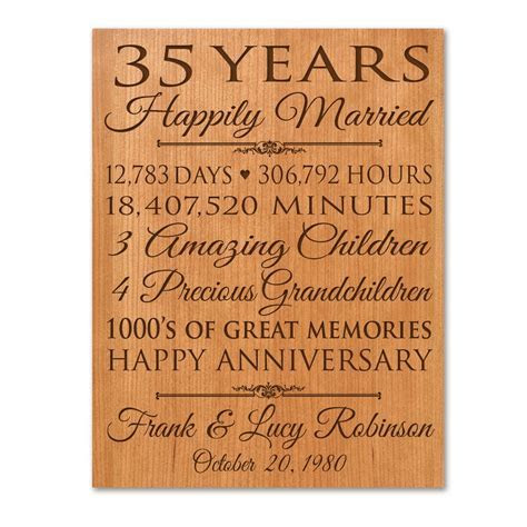 Personalized 35th anniversary gift for him,35 year wedding