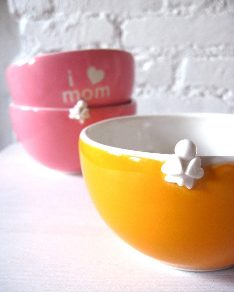 I Love Mom Angel Orange Bowl for Happy Mother's Day