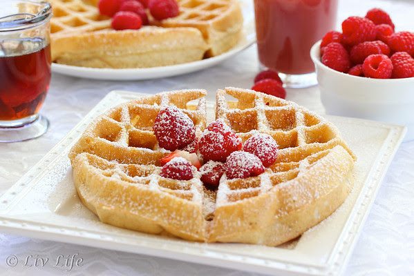 Yeasted Belgian Waffles with fruit