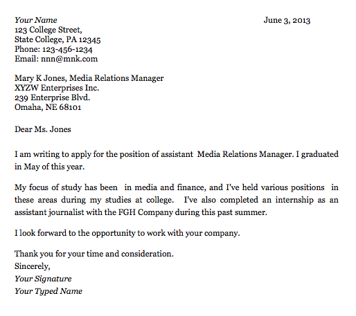 Cover Letter Template For College Application